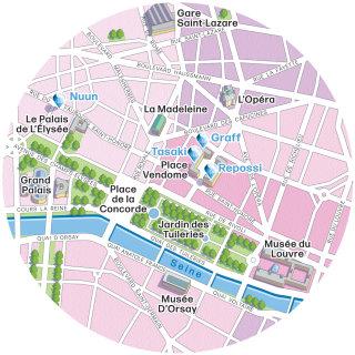 Paris boutiques illustrated map
