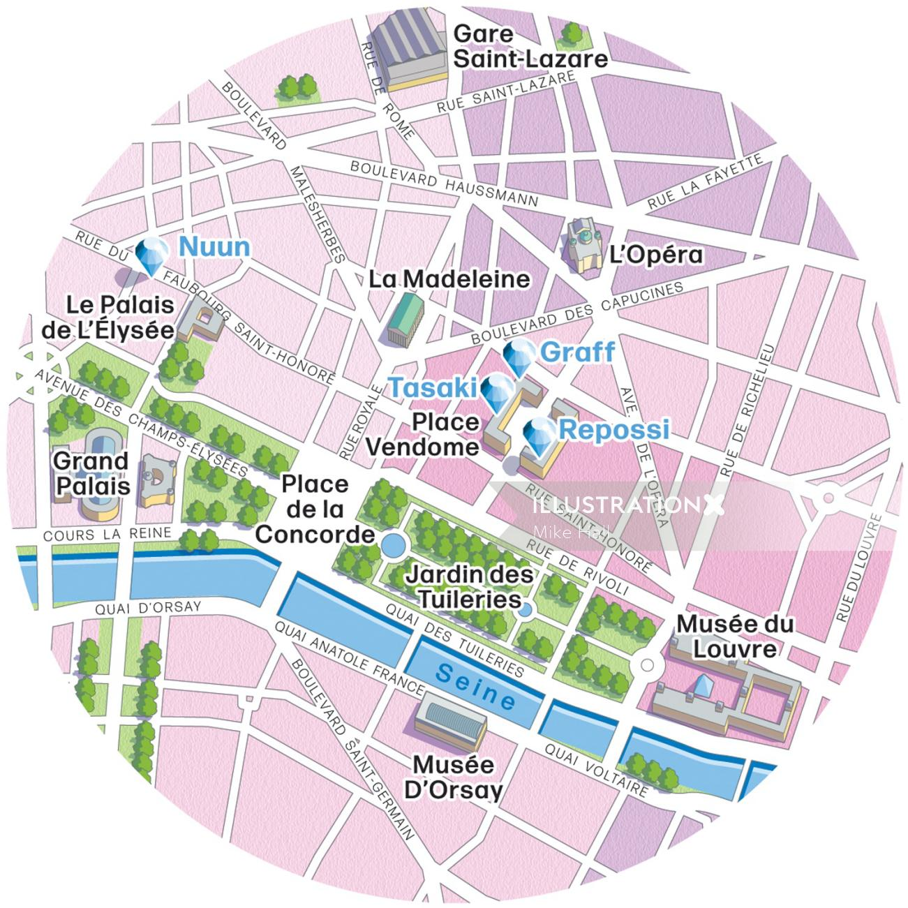Paris boutiques illustrated map