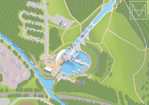 Mapa do visitante de Falkirk Wheel