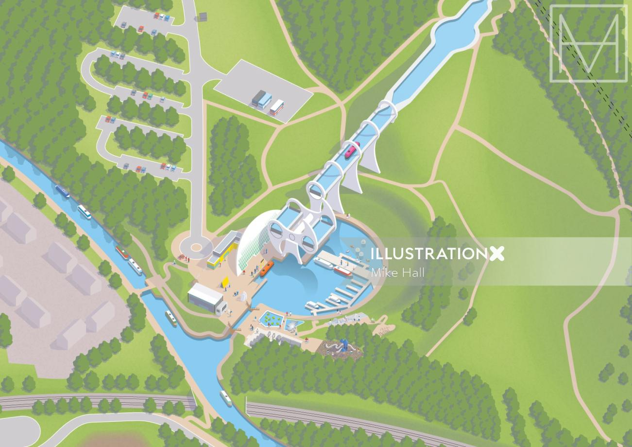 Visitor map of Falkirk Wheel