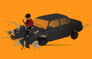 Man and car digital illustration