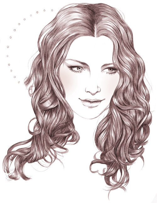 Woman face illustration by Miss Led
