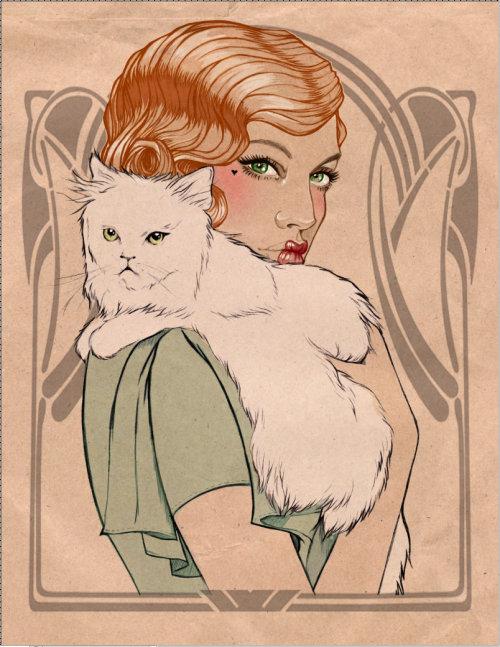 White cat on lady shoulder illustration by Miss Led