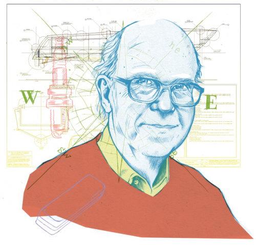 Portrait illustration of an elderly man with glasses illustration by Miss Led