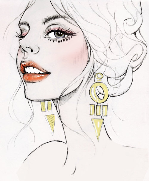 Illustration of a woman wearing fashion earring by Miss Led