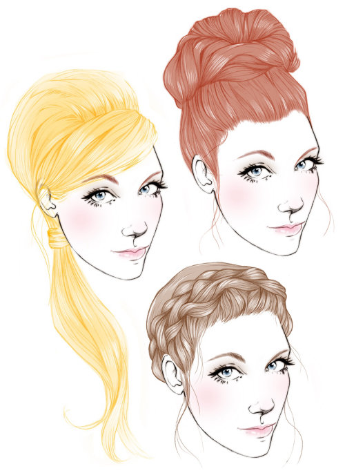 Illustration of Braid and Bun women wedding hairstyle by Miss Led