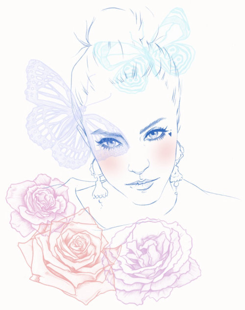 Portrait illustration of a lady by Miss led