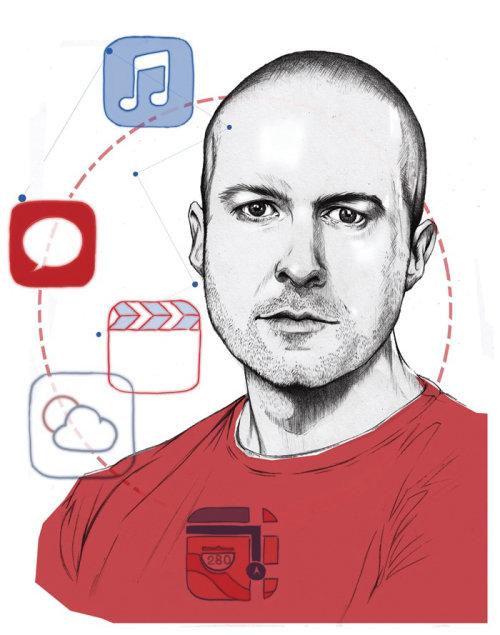 Portrait illustration of Johnny Ive by Miss Led