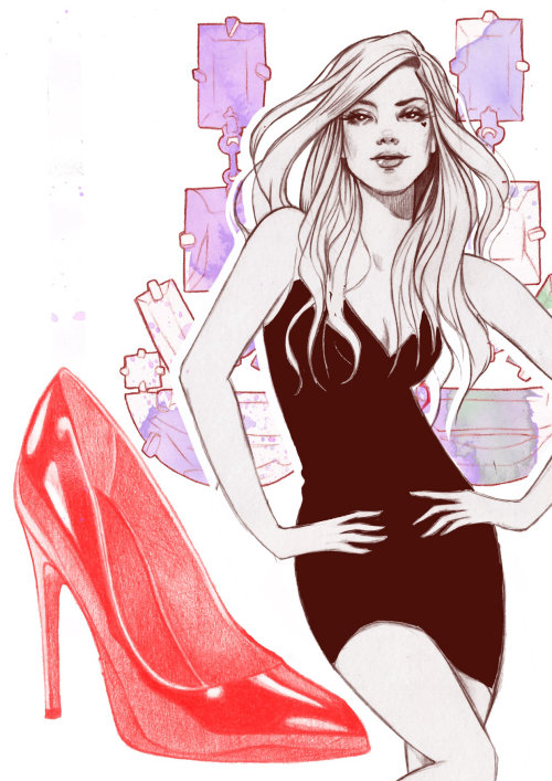 Lady in trendy dress illustration by Miss Led