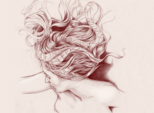 women with shine curly and silky hair illustration by Miss led