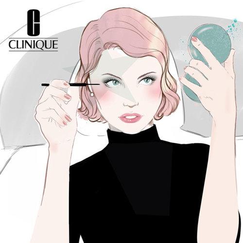 Lady applying eye makeup illustration by Miss Led