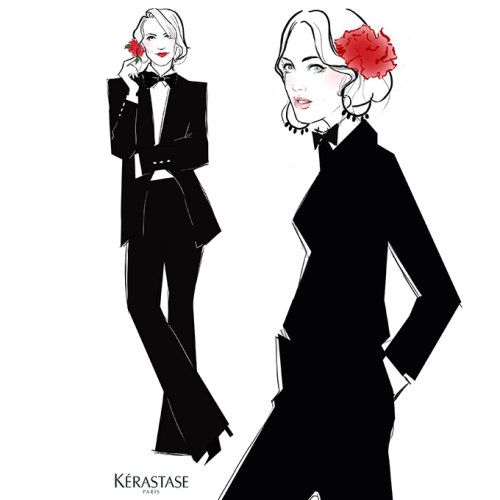 Lady in black suit illustration by Miss Led