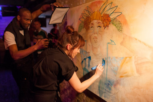 Live painting for Saatchi Gallery by Miss led