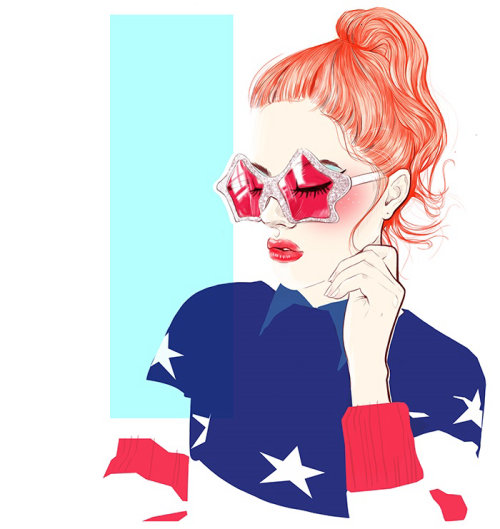 Lady in pink glasses illustration by Miss Led