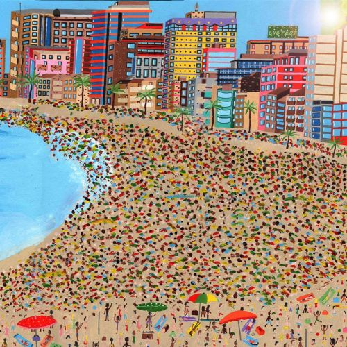 painting of the Rio beach with people