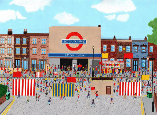 Illustration Arsenal Tube Station on match day by Mohan Ballard