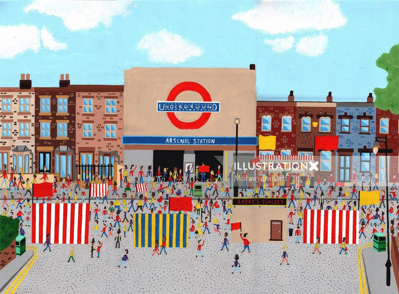 Illustration Arsenal Tube Station on match day by Mohan Ballard