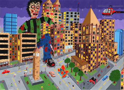 painting of the zombie attacking city