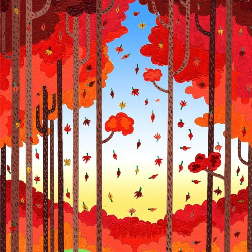 beautiful illustration of Autumn forest