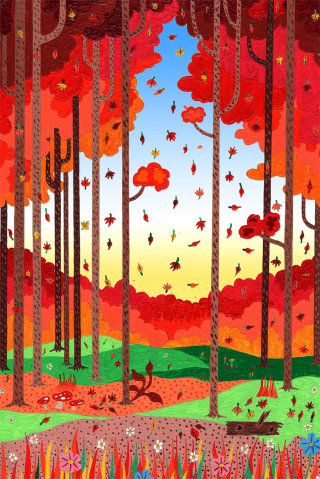 beautiful illustration of Autumn forest