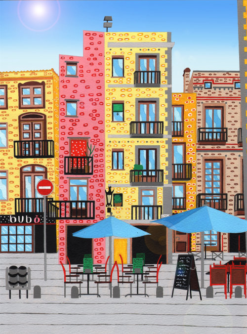 Painting of the Barri Gotic, Barcelona