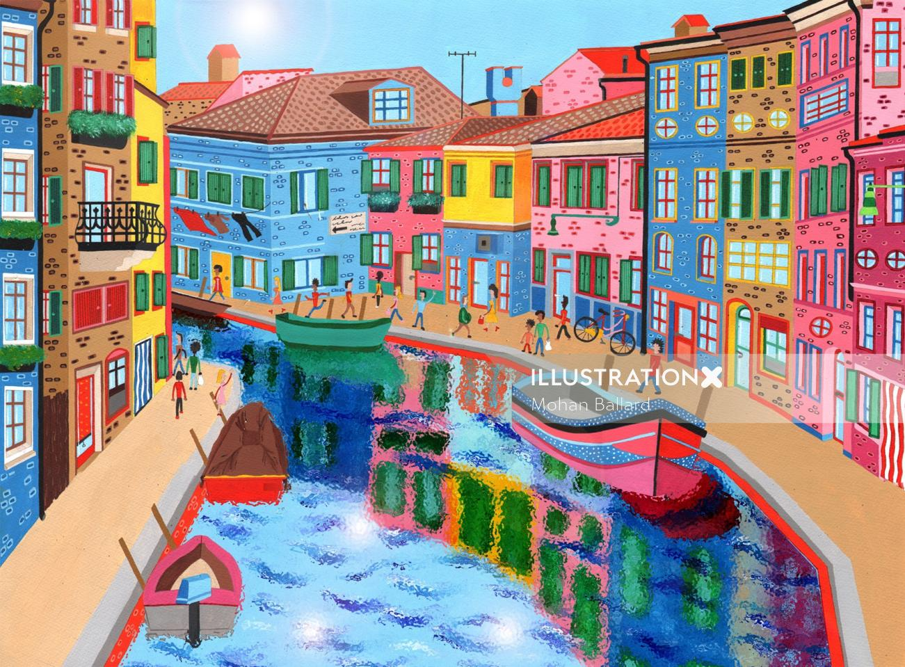 Painting of a street scene of Burano in Italy.