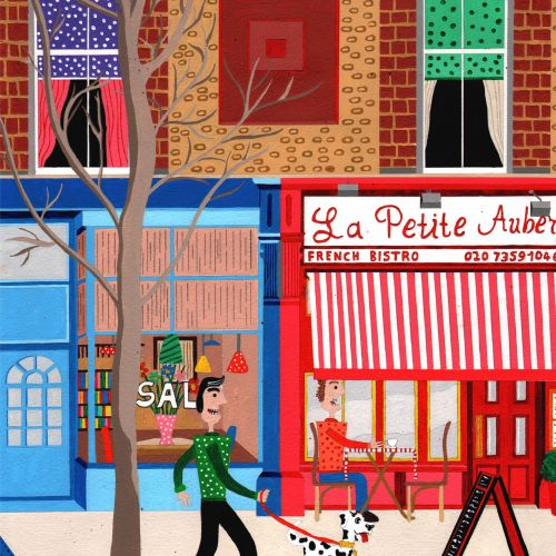 painting of the la patite auberge,islington
