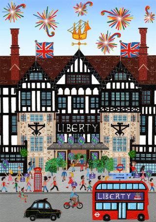 Liberty of London 140th Birthday poster by Mohan Ballard