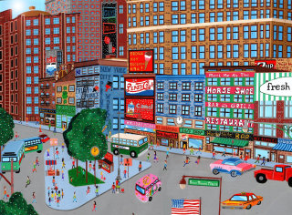 illustration of the manhattan city with buildings