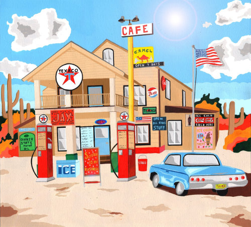 illustration of the classic american Texaco station