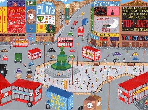 illustration of piccadilly circus in the 60's