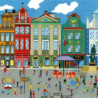 painting of the poznan square, Poland
