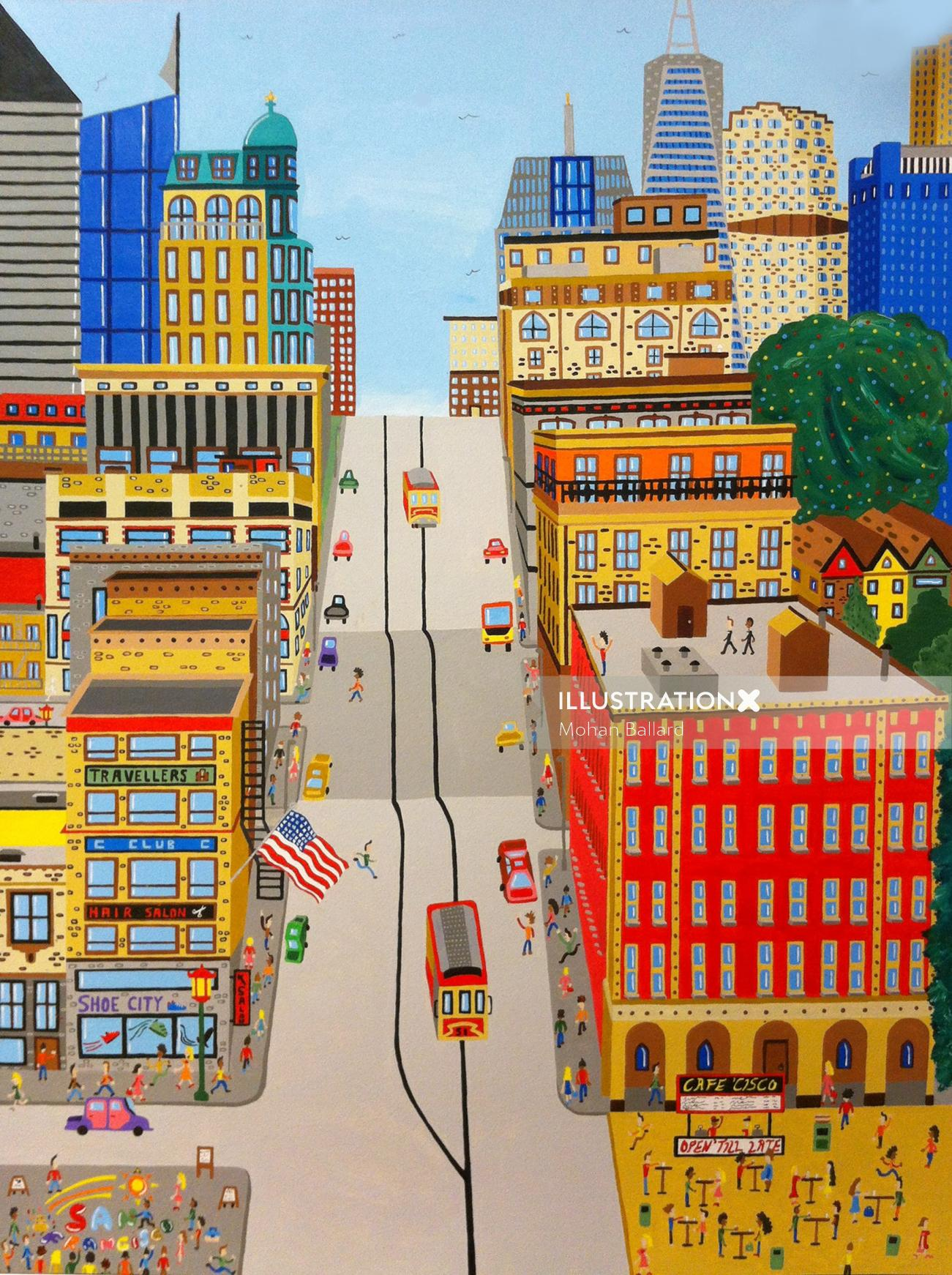 illustration of the sanfrancisco city with buildings and road