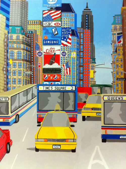 Painting of a street scene of Times Square in New York