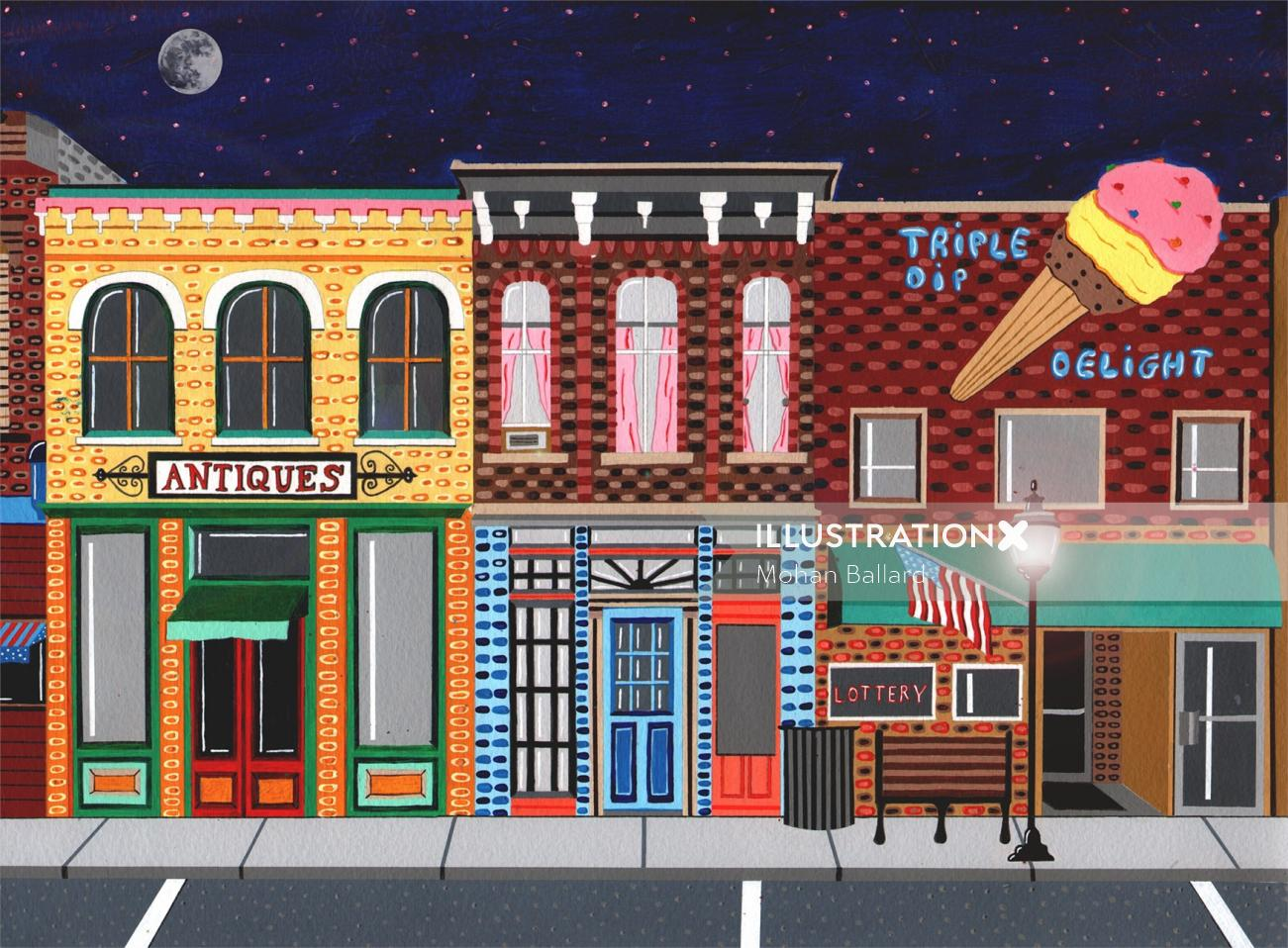 painting of the american street view, triple dip delight