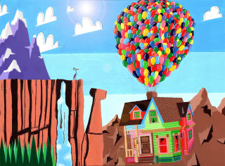 illustration of house with balloons floating up