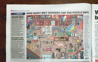 Photo of my Deezer commission in The Metro newspaper