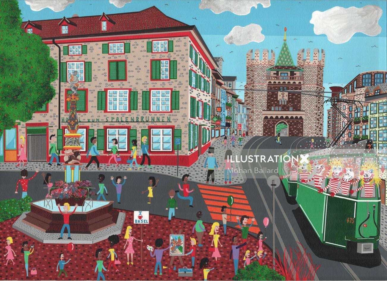 An Illustration Of Spalentor City Scene