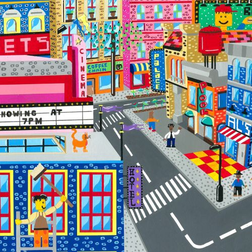 Lego City Scene Illustration
