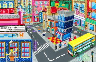 Lego City Scene Illustration