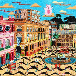 Senado Square street painting by Mohan Ballard