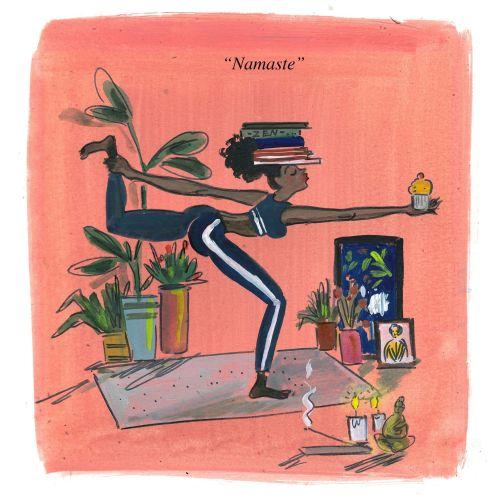 Comic illustration of yoga