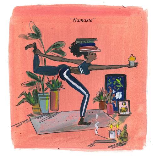 Illustration comique du yoga