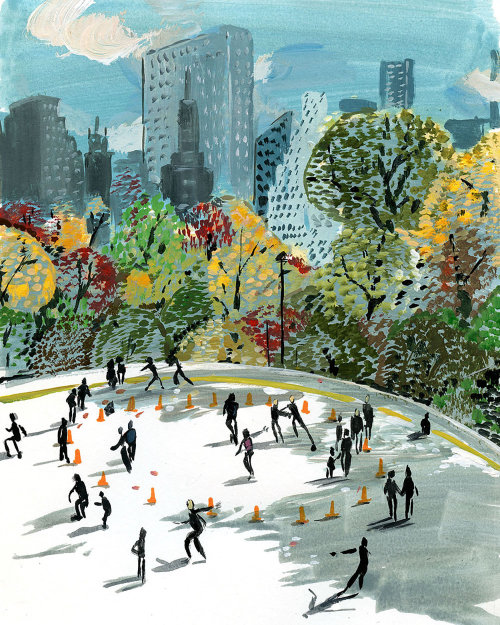 Watercolor painting of central park in New York