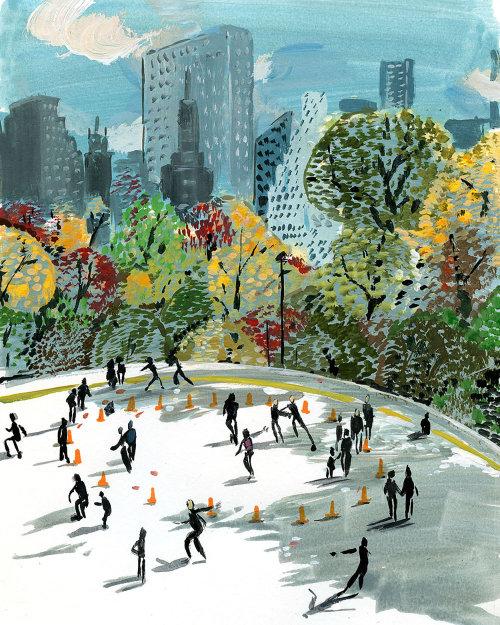 Peinture aquarelle de Central Park à New York