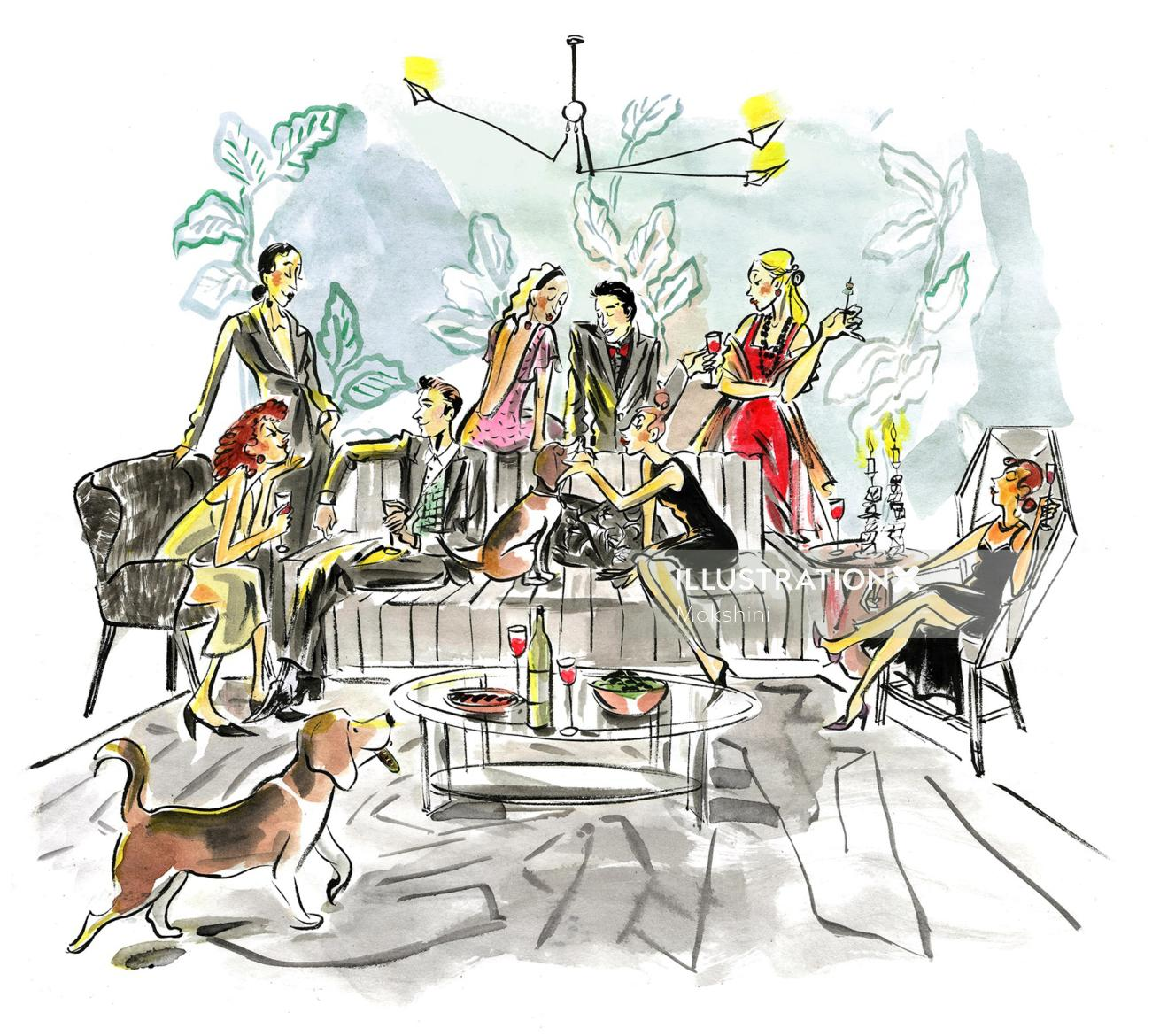 Watercolor drawing of Holiday party