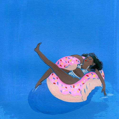 Girl resting on swimming pool illustration