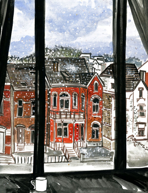 Sketch art of window view in Belgium