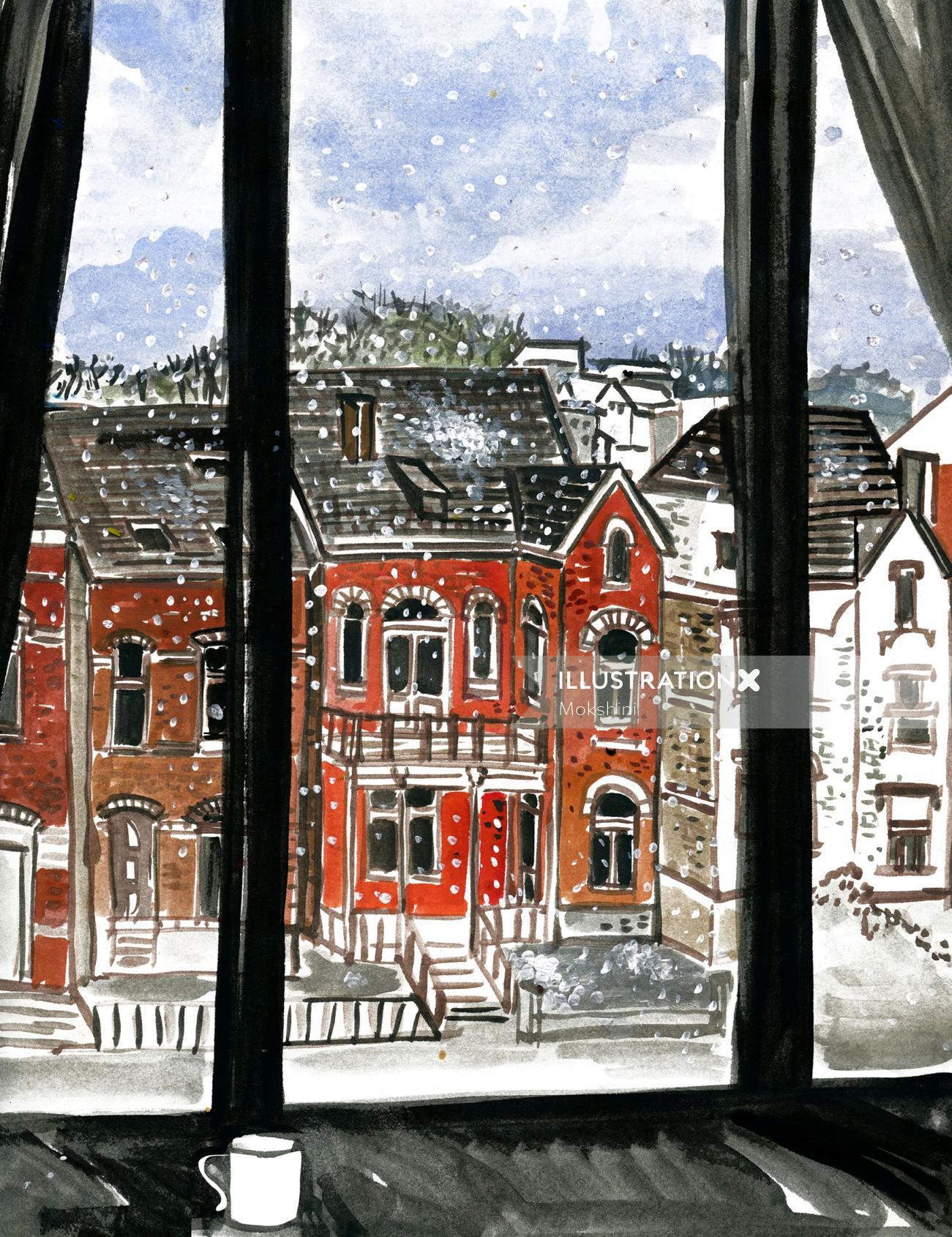 Sketch art of window view in Belgium