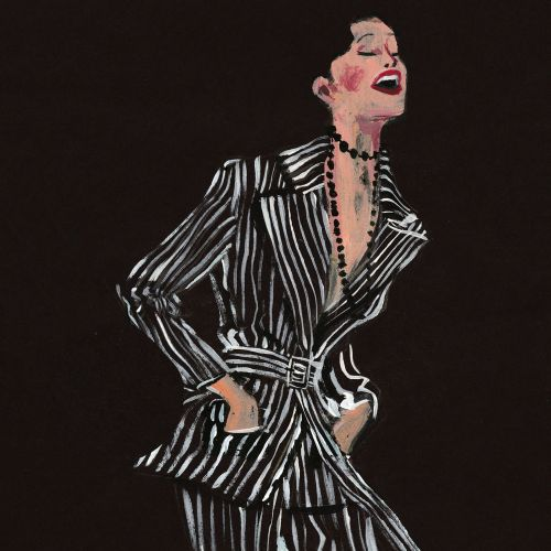 Fashion illustration of Laughing in Dries Van Noten